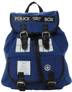 "Travel through time in this lovely Tardis themed slouch backpack, perfect for any Whovian. - Officially licensed - Snap button and drawstring closure, made of 100% polyester - Size: 13"" x 5"" x 13"" - T"