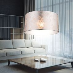 Pendellampe Vintage Design Hänge Leuchten Ess Wohn Zimmer Lampen Stoff Schirme