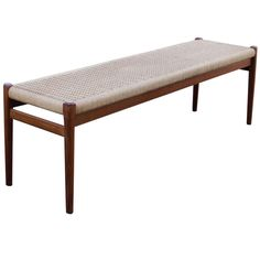 Rare N. O. Moller Danish Teak Bench with Cord Seat | From a unique collection of antique and modern benches at http://www.1stdibs.com/furniture/seating/benches/