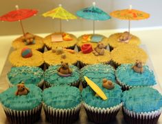 Teddy Bears At The Beach Cupcakes Made for a play date party. Chocolate cupcakes with bc sea, graham biscuit beach, dessicated cococut surf. I Party, Beach Party, Party Ideas, Pool Cupcakes, Football First Birthday, Chocolate Cupcakes, Summer Fun, First Birthdays