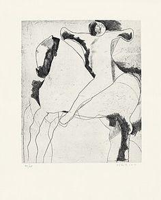 "Marino Marini (Pistoia 1901 - 1980 Viareggio) ""Cavaliere"" (Reiter) aus der Mappe ""Marino Marini Gravures"" (1970) Radierung und Kaltnadel 1952/1970 53,5 x 43 cm Pr. 35,7 x 30 cm"