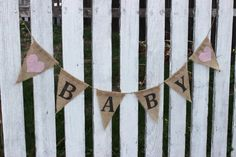 Shabby chic BABY burlap banner- baby shower- baby room- baby girl country chic nursery- little girls room- photo prop