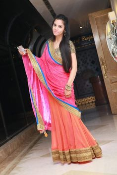 Pink & Peach #Saree.