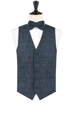 Harris Tweed donkerblauw geruit tweed gilet