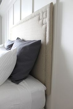 Upholstered headboard DIY Can't wait to add this to our bedroom!