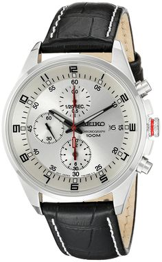 Seiko Men's SNDC87P2 Leather Synthetic Analog with White Dial Watch