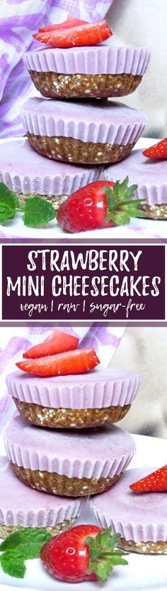 These vegan mini strawberry cheesecakes are one of my favorite vegan desserts for hot summer days. You can either eat them frozen or let them warm up for about 10 minutes before eating them. I can't get enough of this vegan cheesecake! SO yummy and the recipe is incredibly easy! <3 | veganheaven.org