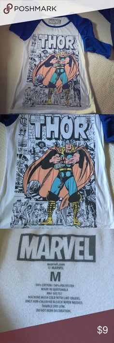 Marvel Thor Baseball Shirt Marvel Thor Baseball Shirt. There is some pulling that is noted in photos. Price reflects. Marvel Tops Tees - Long Sleeve
