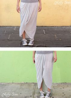 Make a draped skirt with this easy tutorial - Melly Sews Sewing Tutorials, Sewing Patterns, Blind Stitch, Sewing School, Draped Skirt, Skirt Tutorial, Layered Skirt, Rolled Hem, Woven Fabric