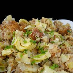 Gluten-Free Pan Roasted Stuffing with Artichoke Hearts vegan, plantbased, earth balance, made just right