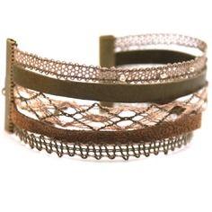 Bracelet manchette dentelle aux fuseaux kaki, cannelle et taupe