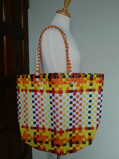 Woven Plastic Tote by Ethnia on Etsy, $34.99