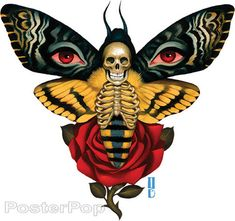 Artist Gustavo Rimada Death From Above Sticker, Published and Produced by Poster Pop Dibujos Tattoo, Desenho Tattoo, Custom Car Decals, Custom Stickers, Label Stickers, Bumper Stickers, Vinyl Decals, Mom Tattoos, Tattoos For Guys