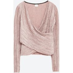 Zara Crossover Top (1.575 RUB) ❤ liked on Polyvore featuring tops, pink marl, pink top, zara tops, cross over top and surplice tops