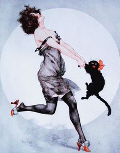 Hérouard, Chéri (b,1881)- Dancing w Cat- 'La Vie Parisienne', 1923 -2b (Duplicate Variation Below- this is lighter, sharper}