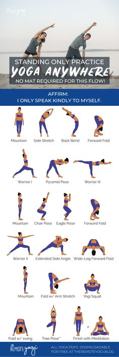 Do you ever feel like a quick yoga class but dont have a mat? Print out this free Standing Only Yoga PDF to practice anywhere. Yoga Flow, Yoga Am Morgen, Yoga Moves, Yoga Exercises, Yoga Poses For Beginners, Morning Yoga, Yoga Routine, Yoga Benefits, Yoga Sequences