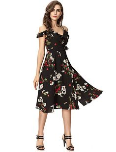 3ee82731ff0 Noctflos Women s Floral Chiffon Summer Cold Shoulder Cocktail Party Midi  Dress Fabric  100% Polyster