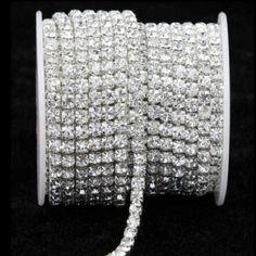 10 Yard Silver & Gold Glass Rhinestone DIY Close Chain Clear Trim Sewing Craft in Crafts, Sewing, Embellishments & Finishes, Trims Rhinestone Appliques, Silver Rhinestone, Rhinestone Jewelry, Diy Ribbon, Beaded Trim, Gold Glass, Clear Crystal, Decor Crafts, Diy Crafts