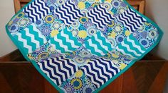 Modern Baby QuiltAqua and Navy Baby Quilt by TakeTwoBabyQuilts