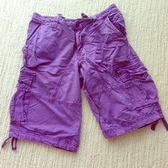 Unique men's military style cargo shorts. New without tags deep purple men's size 36 cargo Bermuda shorts with additional drawstring for waist and legs area. Rare color for cargo shorts. 6 pockets in total! J. Crew Shorts Cargos