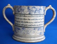 Rare Oddfellows Large Pottery Loving Cup Two Handled Mug With Verse Odd Fellows, Pottery, Ceramics, Mugs, Ceramica, Ceramica, Pottery Marks, Tumblers, Ceramic Art
