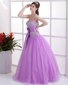 vestidos de 15 años largos color lila abalorios de color lila
