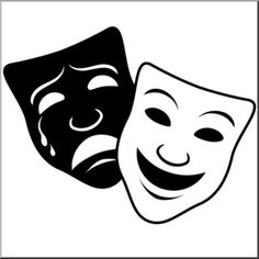 Clip Art: Comedy and Tragedy Masks 1 B&W 2 I abcteach.com   abcteach