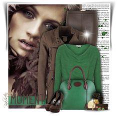 """Green & Brown"" by pinkroseten on Polyvore"
