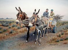 Hofmeyr Road Donkey Cart by Barbara Philip ~ watercolor countryscape African Art Paintings, Animal Paintings, Poppy Flower Painting, South African Artists, Country Art, Watercolor Artists, Small Art, Wildlife Art, Horse Art