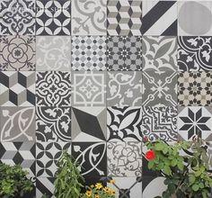 Cement Tile Shop - Encaustic Cement Tile Patchwork Black and White