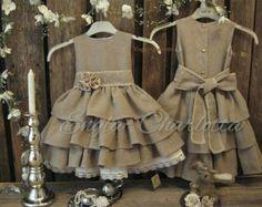 Country Western Flower Girl Dresses | flower girl dress. Dark beige country flower girl dress. Toddler girls ...