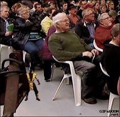 Funny GIF Of An Old Man Falls Down From Chair