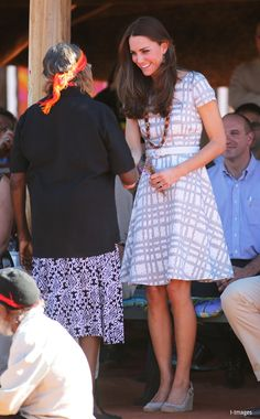 whatkatewore:  Cambridge Royal Tour-Day 13, Uluru/Ayers Rock, Australia, April 22, 2014-The Duchess of Cambridge at the Uluru Cultural Center; the Duchess repeated her Hobbs Wessex dress with Imperias pumps and the beaded necklace given to her at the center.