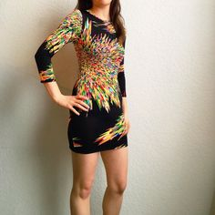 Colorful Geometric Pattern Bodycon Dress Item description: this little number is super comfy and fun to wear! Very unique pattern and super colorful make this a great dress for a night out on the town or to a concert!  Fit: true to size  Condition: like new  Major defects/damage: **this item has been hemmed from original size to be shorter**  I bundle, I'd be happy to put together a personalized listing for you! 15% off 2 items 20% off 3 or more items  Sorry, not looking for trades right…
