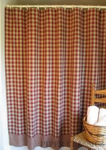 New Primitive Country Ninepatch Quilt BURGUNDY TAN STAR Shower Curtain