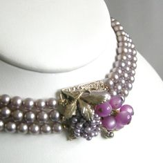 Vintage Miriam Haskell style purple glass pearl by tonightinparis, $49.00