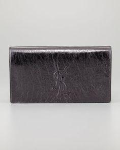Belle du Jour Metallic Clutch Bag, Anthracite by Saint Laurent at Neiman Marcus.