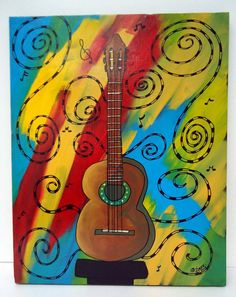 Guitar Dream - 16x20 - original painting music insturment musician dream rainbow