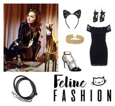 """""""Catwoman"""" by queen-of-asgard-160 ❤ liked on Polyvore featuring Maison Close, Badgley Mischka, Rogues Gallery and Vanessa Mooney"""