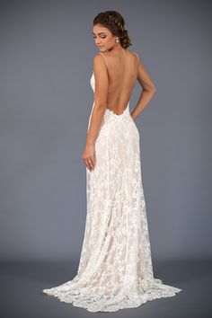 Our Millie gown. Love a low back wedding dress