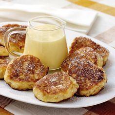 Kleine Apfelpuffer mit Vanillesauce