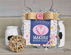 DIY Makers Gonna Make Galvanized Sign by Kimberly Crawford featuring Jillibean Soup Sew Sweet Sunshine Soup and Mix the Media Surface