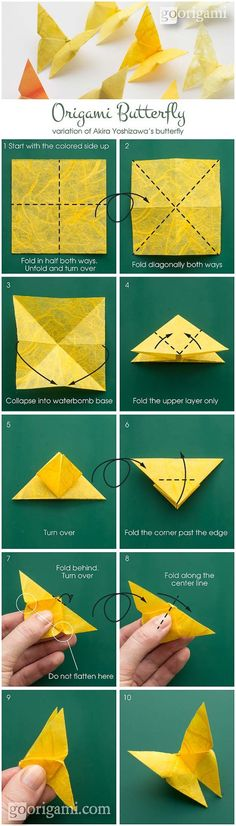 Best Origami Tutorials - Origami Butterfly - Easy DIY Origami Tutorial Projects for With Instructions for Flowers, Dog, Gift Box, Star, Owl, Buttlerfly, Heart and Bookmark, Animals - Fun Paper Crafts for Teens, Kids and Adults http://diyprojectsforteens.com/best-origami-tutorials
