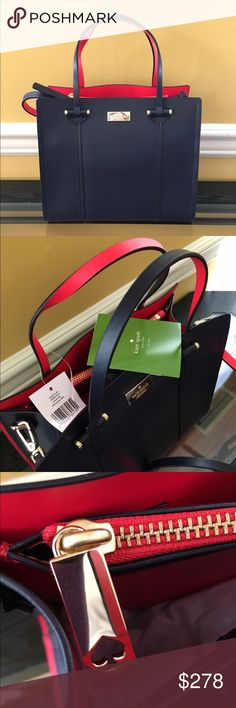 """NWT Kate Spade Small Eloise Off shore / geranium Brand new with tags Kate Spade Small Elodie handbag from Arbour Hill collection Color: off shore / geranium (ofshr/grnm) Smooth leather finish Magnetic top closure Internal zippered pocket, open pocket, pocket behind zipper pocket Removable, adjustable shoulder strap  Dimensions: approx. 10.5""""L x 9""""H x 4.5""""W  MSRP $400 (including tax) kate spade Bags Crossbody Bags"""