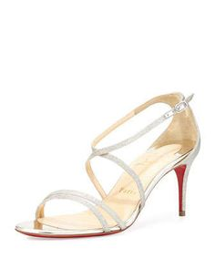 Gwinee Strappy Glitter Red Sole Sandal, Ivory/Beige by Christian Louboutin at Neiman Marcus.
