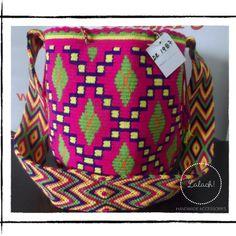 "Large Multicolor Wayuu Mochila Bag. Crochet. Cotton. 12"" x12"" from LalaOh! for $70.00"