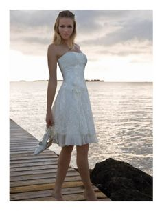 wedding dresses short wedding dresses 2013 wedding dresses laces open back 2013 summer sassy strapless empire flower lace organza satin beach bridal gown Short Wedding Gowns, Lace Beach Wedding Dress, Wedding Bridesmaid Dresses, Wedding Dress Styles, Bridal Gowns, Lace Wedding, Wedding Reception, Reception Dresses, Summer Wedding