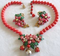 Beautiful vintage Vendome enameled flower and rhinestone necklace and matching earring set.