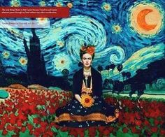 When Frida met Vincent. unknown artist.  If anyone knows anything about this post let me now.  The two paintings are beautifully matched and think the artist should do more.