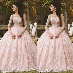 Beautiful ball gowns to dance through the night – ChoosMeinStyle Long Sleeve Quinceanera Dresses, Grad Dresses Long, Prom Dresses Long With Sleeves, Dress Long, Lace Ball Gowns, Ball Gowns Prom, Ball Dresses, Beautiful Evening Gowns, Dresses Elegant